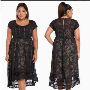 Torrid NWOT Black Burnout Chiffon Dress Size 12